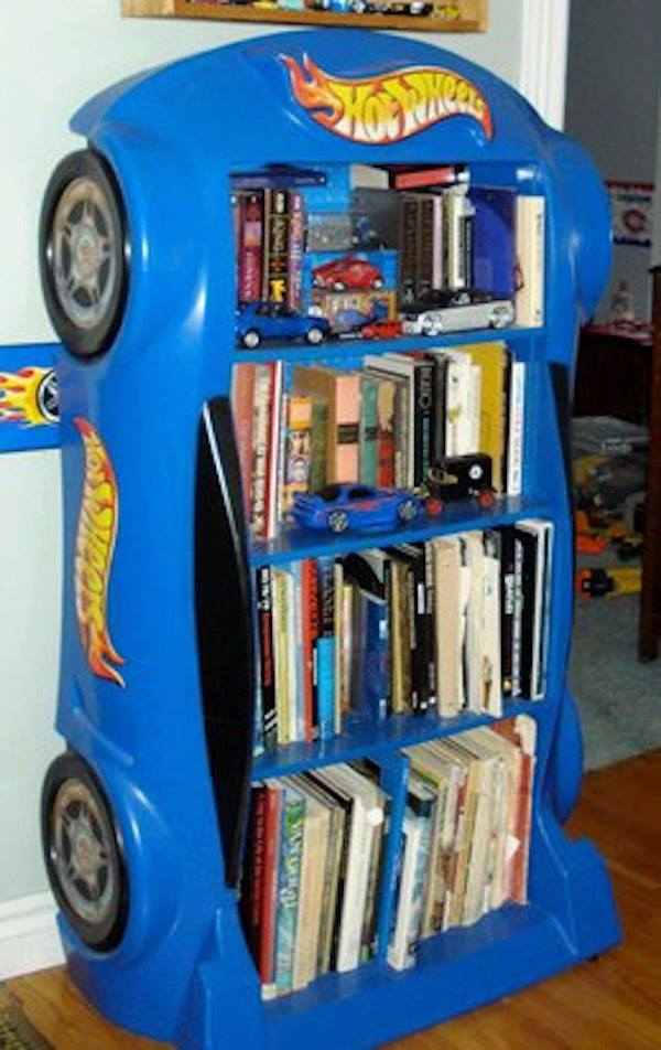 Turn a Hot Wheels Race Car Bed into a Bookshelf...these are awesome Upcycled & Repurposed Ideas!