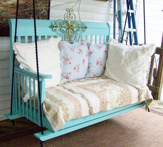 A Porch Swing made from an Old Crib...these are the BEST Upcycled & Repurposed Ideas!