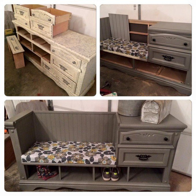 diy repurposed furniture. Wonderful Furniture Turn An Old Dresser Into A Mudroom Benchthese Are The BEST With Diy Repurposed Furniture O
