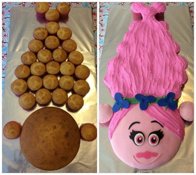 Trolls Cupcake Cake