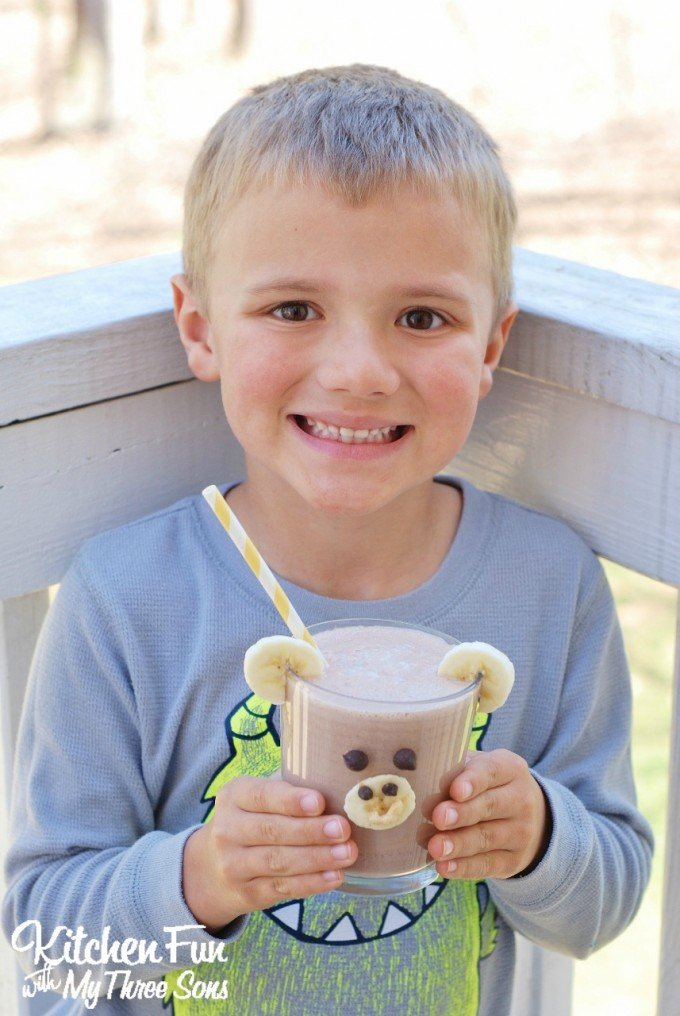 Smoothie for Kids - Chocolate Peanut Butter Banana Smoothie Monkey from KitchenFunWithMy3Sons.com