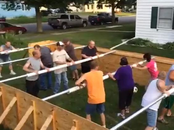DIY Giant Foosball. Outdoor games for adults.