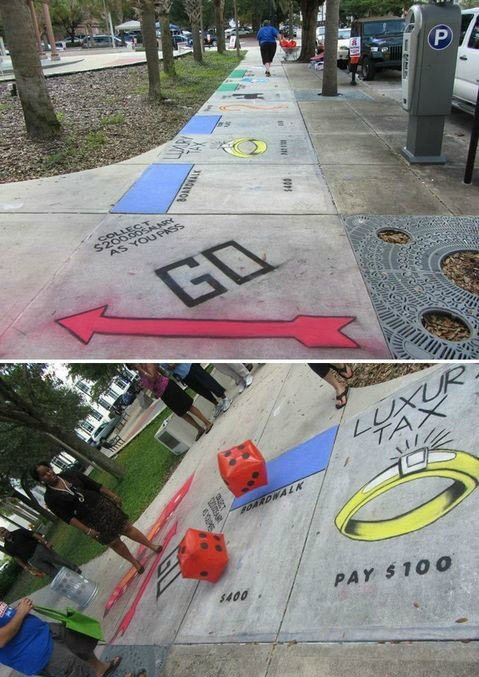 Life Sized Sidewalk Monopoly...these are the BEST Outdoor Game Ideas for Kids & Adults!