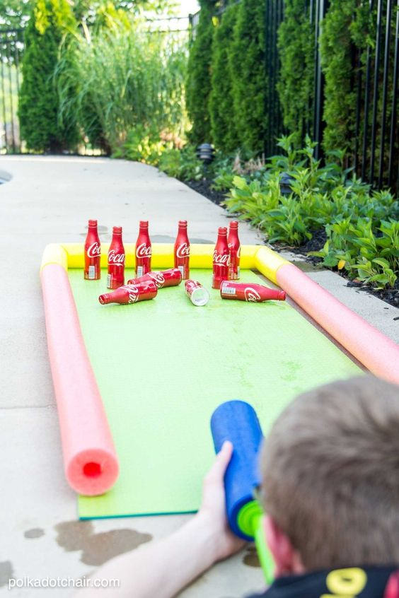 Water Gun Bowling...these are the BEST Backyard Game ideas for Kids & Adults!