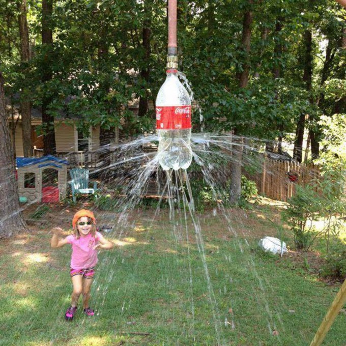 Coke Bottle Sprinkler...these are the BEST Backyard Games for Kids & Adults!