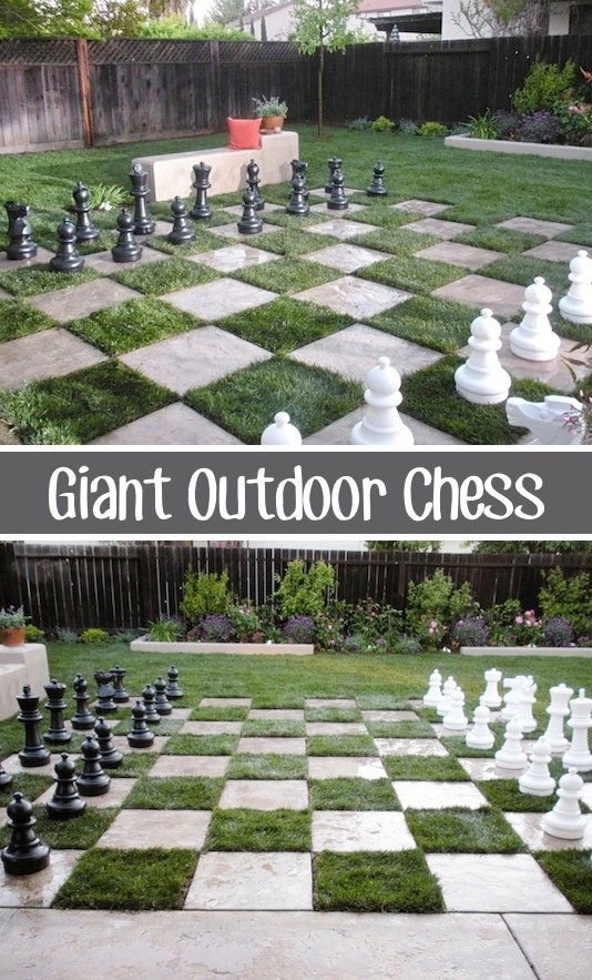 Giant Outdoor Chess...these are the BEST Backyard Game Ideas for Kids & Adults!