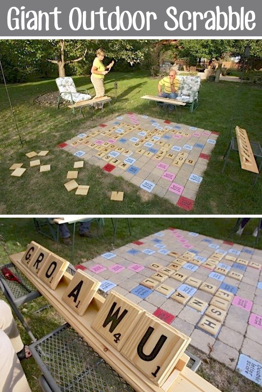 Giant Outdoor Scrabble...these are the BEST Backyard Game Ideas for Kids & Adults!
