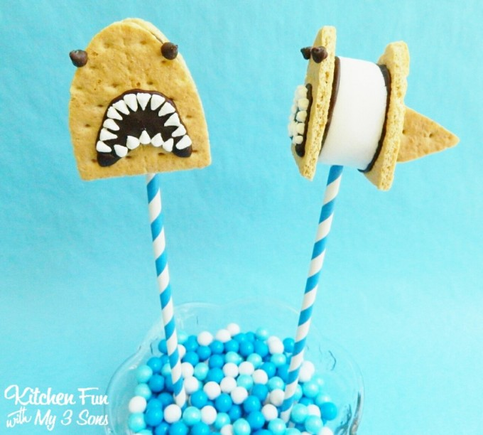 Shark S'mores Pops...a fun treat for Shark Week!