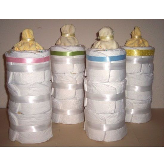 Bottle Shaped Diaper Cake...these are the BEST Baby Shower Ideas!