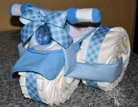 Tricycle Diaper Cake..these are the BEST Baby Shower Ideas!