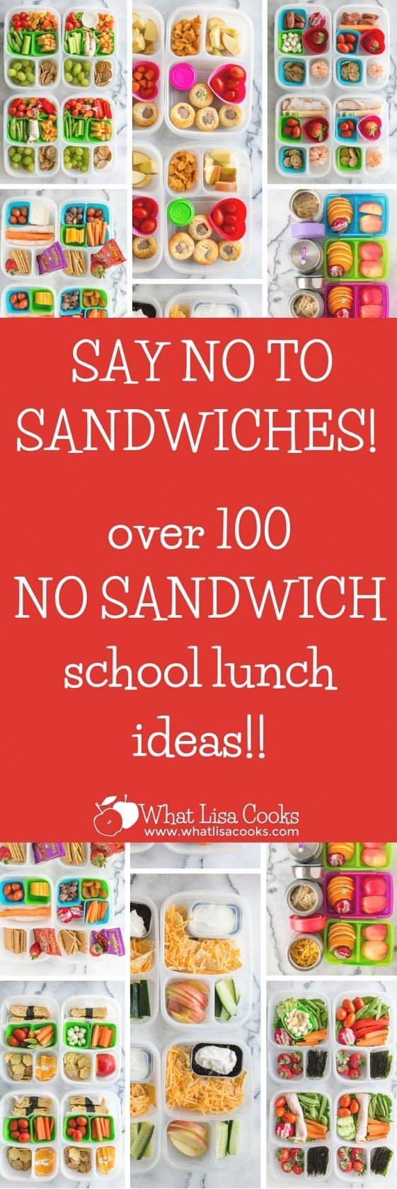 Take school lunch to the next level with these no sandwich lunch ideas for kids. Easy and delicious, your kids will never ask for PB and J again! No Sandwich Lunch Ideas for Kids Pack lunch in a leak-proof Bento box with different fruits, veggies, and nuts.