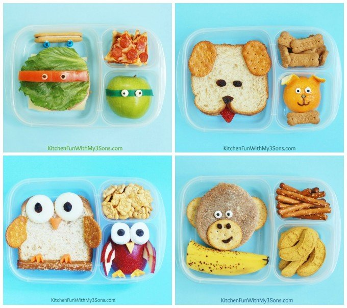 Themed Bento Lunch Box Ideas (Owl, TMNT, Dog, & Monkey)...these are the BEST Back to School Lunch Ideas!