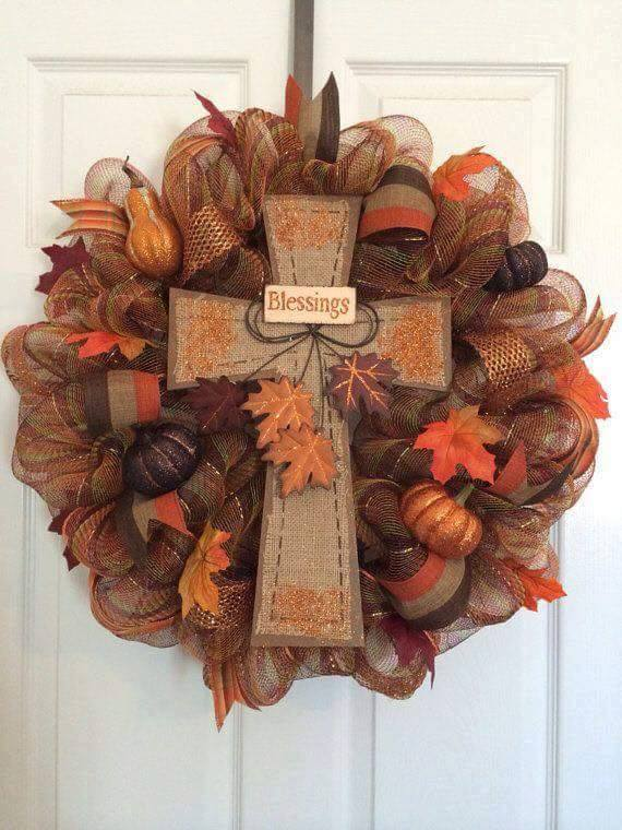 Fall Blessings Cross Wreath