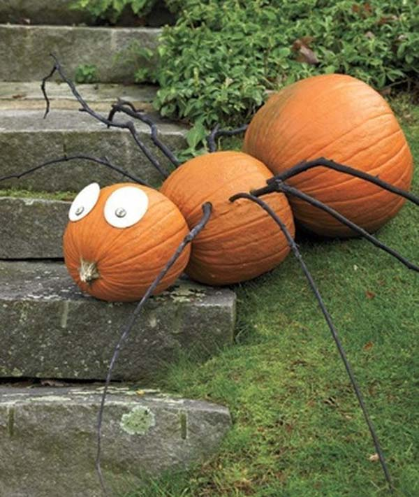 No-Carve Spider Pumpkins