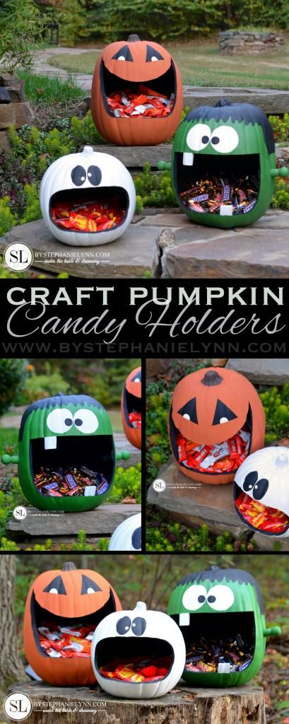 DIY Pumpkin Candy Holders...these are the BEST Carved & Decorated Pumpkin Ideas!