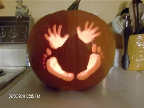 Baby Hands & Feet Pumpkin...super cute Baby Shower Idea! The BEST Carved & Decorated Pumpkin Halloween Ideas!