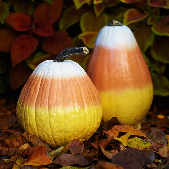 Candy Corn Pumpkins....these are the BEST DIY Carved & Decorated Pumpkin ideas for Halloween!
