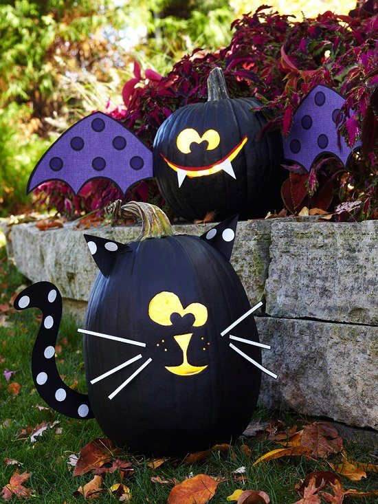 Black Cat & Bat Pumpkins...these are the BEST DIY Carved & Decorated Pumpkin Ideas for Halloween!