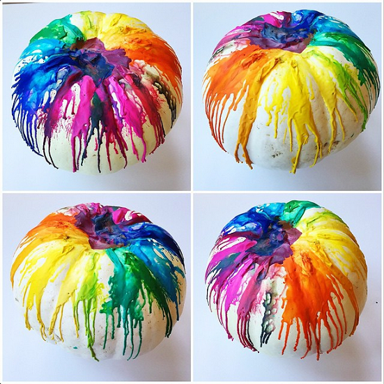 Melted Crayon Rainbow Pumpkins...these are the BEST Carved & Decorated Pumpkin Ideas!