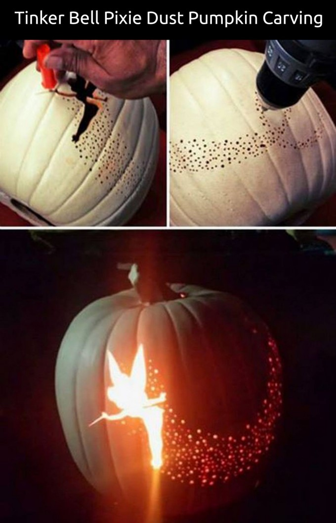 Tinker Bell Pixie Dust Carved Pumpkin...these are the BEST Pumpkin Decorating Ideas!