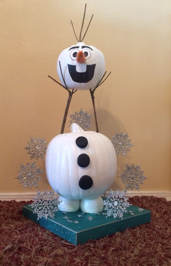 Headless Olaf Pumpkin....these are the BEST Decorated & Carved Pumpkin Ideas!