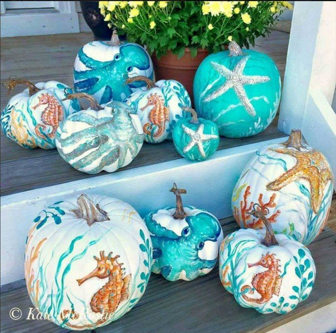 Beach Coastal Pumpkins...these are the BEST Halloween Decorated & Carved Pumpkin Ideas!