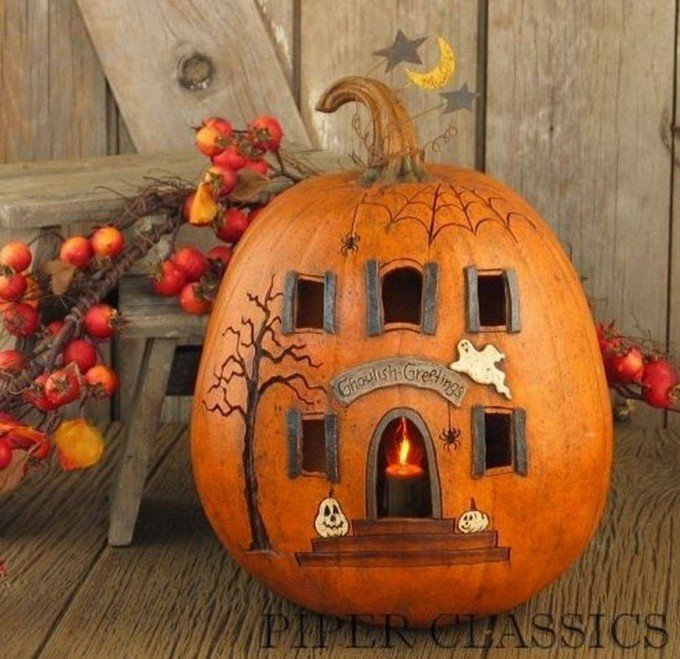 haunted house pumpkinthese are the best carved decorated pumpkin ideas - Decorated Halloween Pumpkins