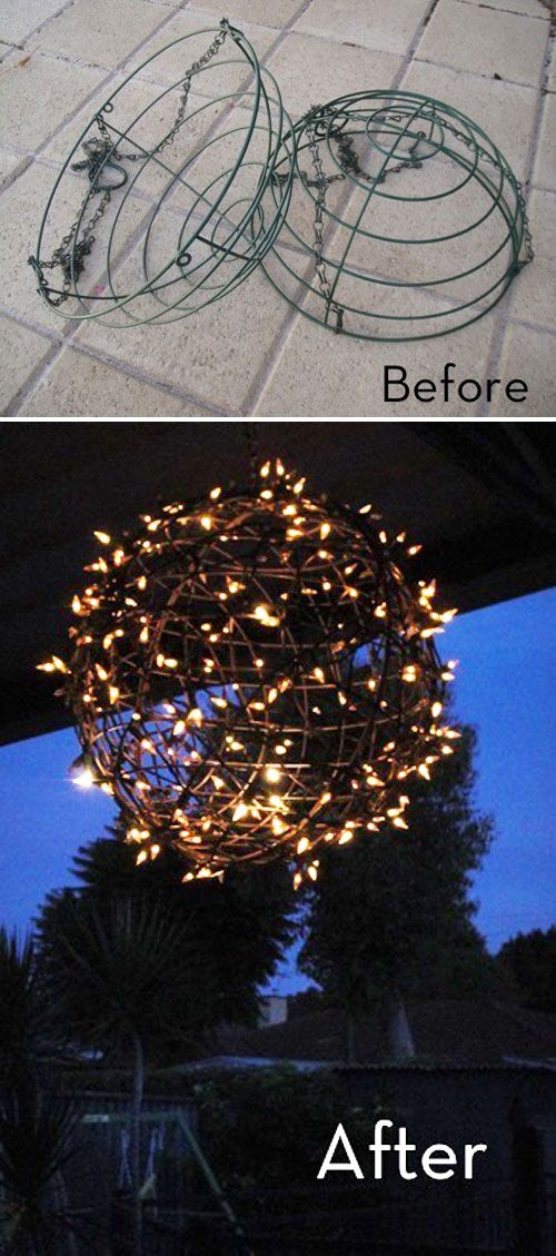DIY Hanging Christmas Light Globe...these are the BEST Homemade Christmas Decorations & Craft Ideas!