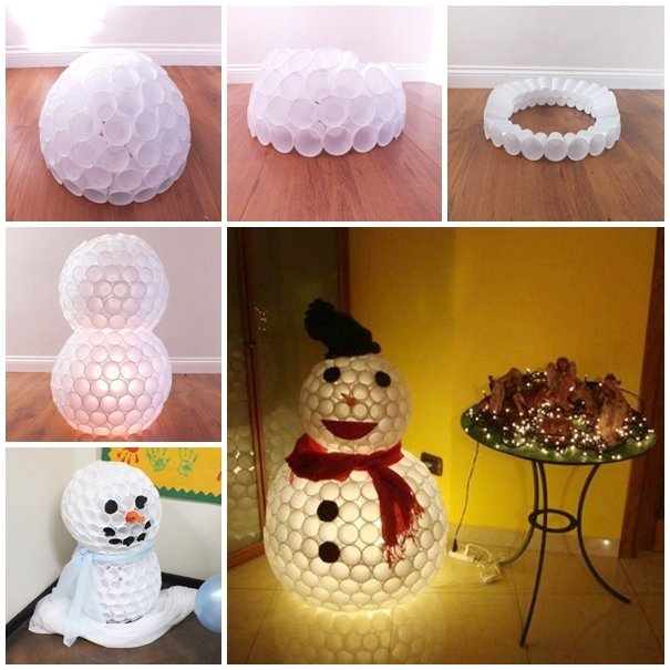 Plastic Cup Snowman...these are the BEST DIY Christmas Decorations & Craft Ideas!