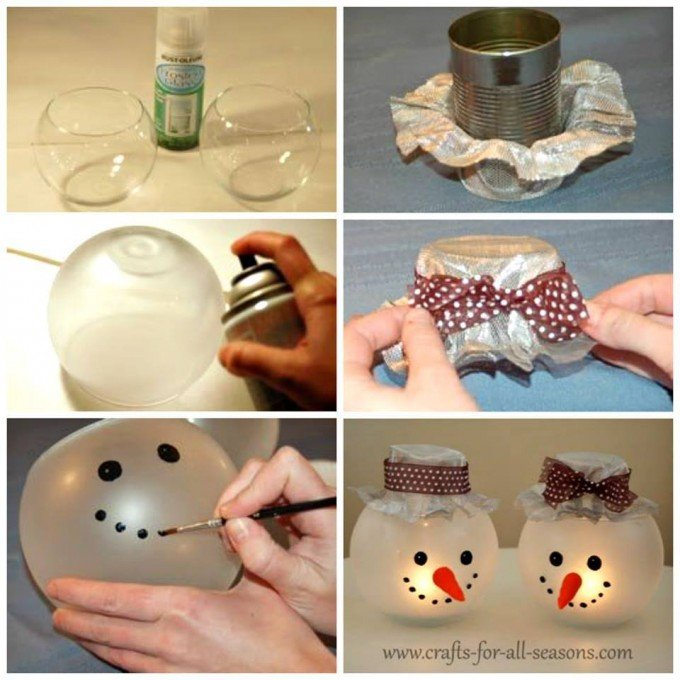 diy snowman candle holdersthese are the best homemade christmas decorations craft - Christmas Decoration Crafts