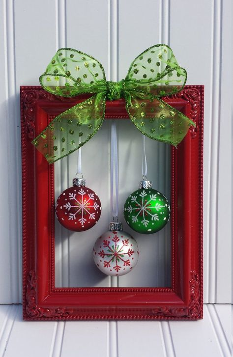 christmas frame wreaththese are the best diy christmas decorating craft - Christmas Ball Decoration Ideas