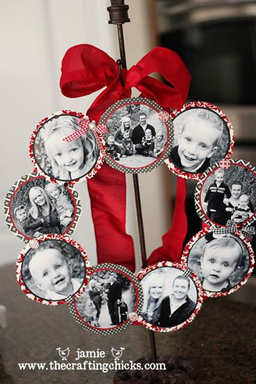 diy photo wreaththese are the best homemade christmas decorations craft ideas - Christmas Decoration Ideas To Make