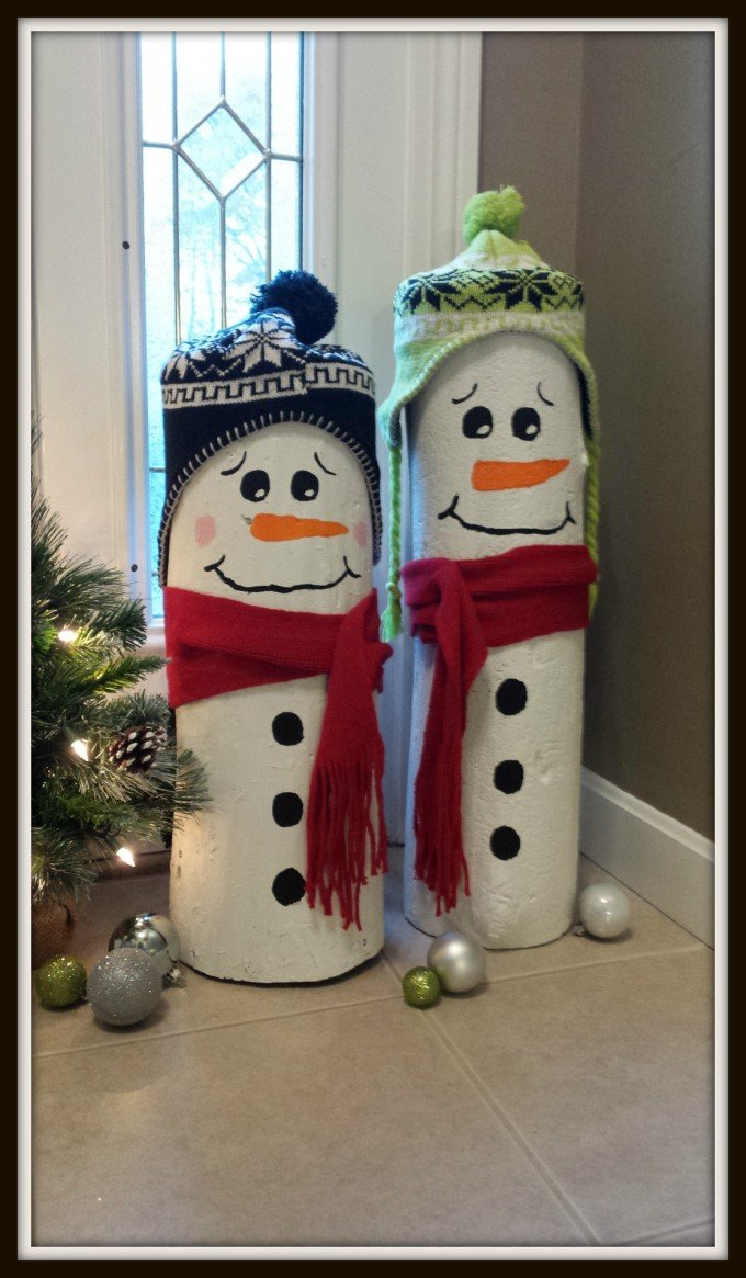 diy log snowmenthese are the best homemade christmas decorations craft ideas - Homemade Christmas Decorations Ideas