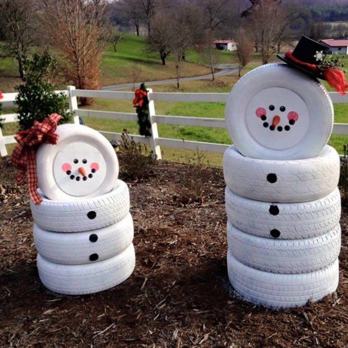 snowmen made from old tiresthese are the best diy christmas decorations