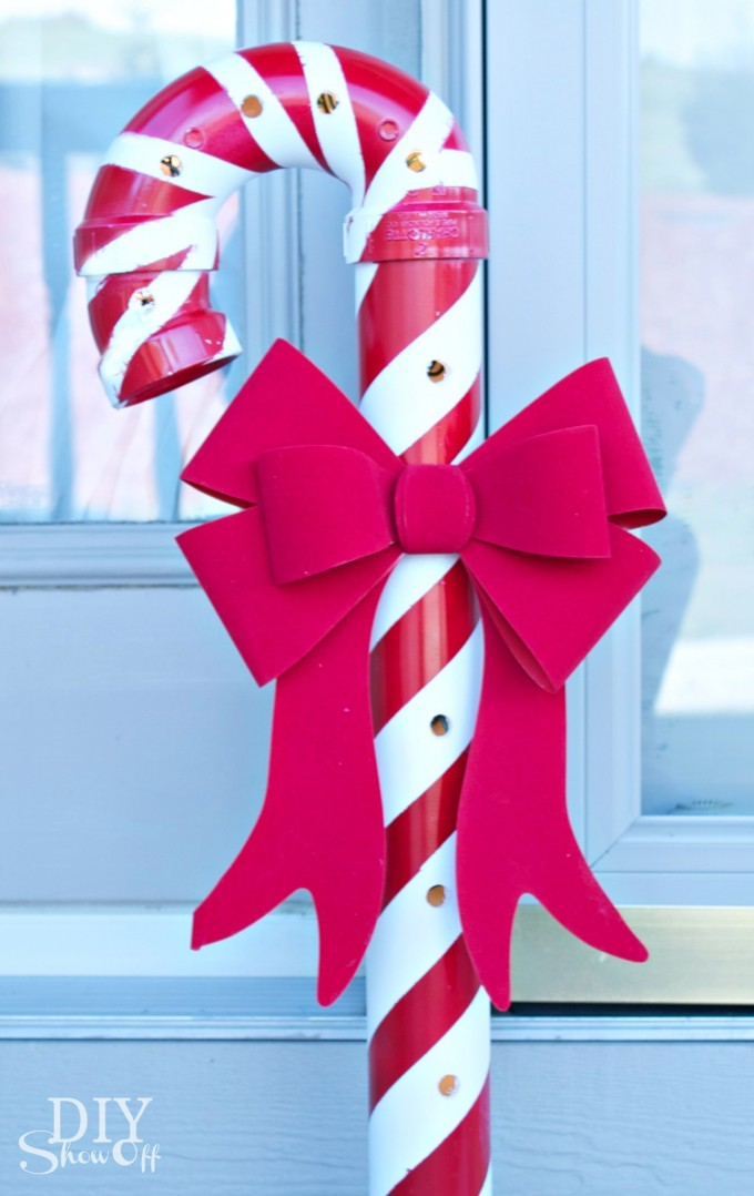 DIY PVC Candy Cane...these are the BEST Homemade Christmas Decorations & Craft Ideas!