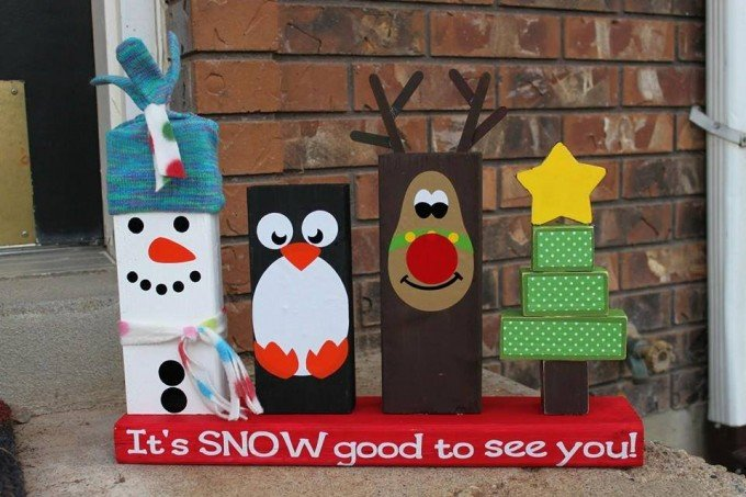 DIY 2x4 Wood Christmas Decoration...these are the BEST Homemade Holiday Crafts!