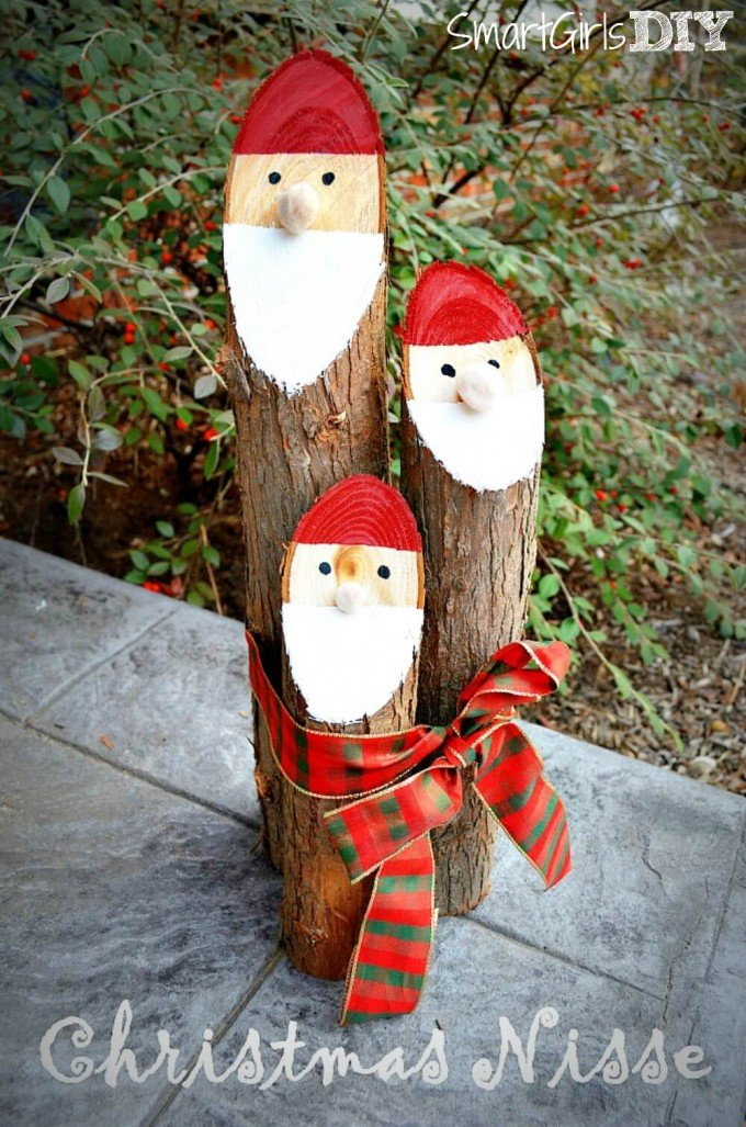 diy santa logsthese are the best homemade christmas decorations craft ideas - Outdoor Wooden Reindeer Christmas Decorations