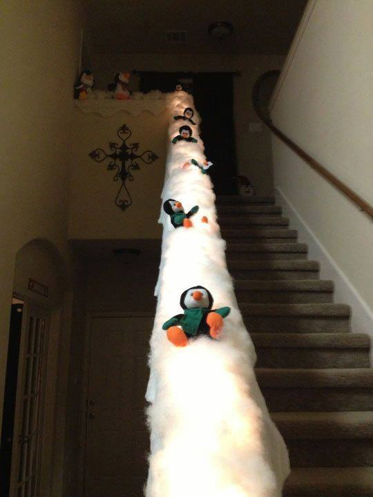 sliding staircase penguinsthese are the best diy christmas decorations craft ideas - Snowman Christmas Tree Decorations