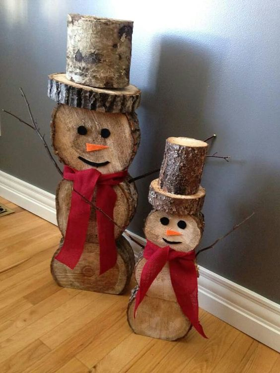 diy snowman logsthese are the best homemade christmas decorations craft ideas - Wooden Christmas Crafts