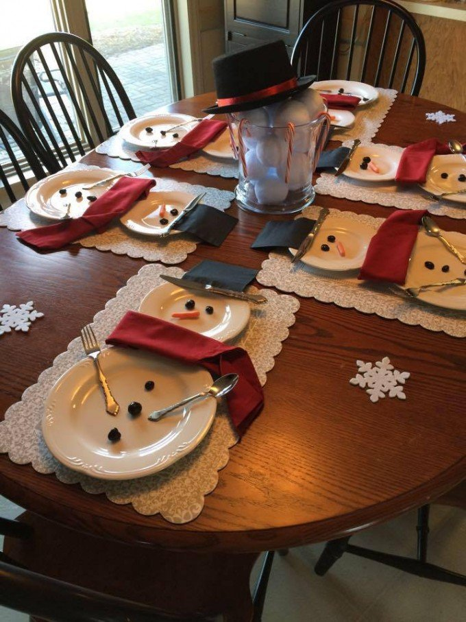 snowman place settingthese are the best christmas decorations craft ideas - Decorating A Small Home For Christmas