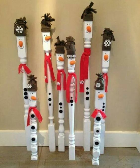 diy spindle snowmenthese are the best homemade christmas decorations craft ideas