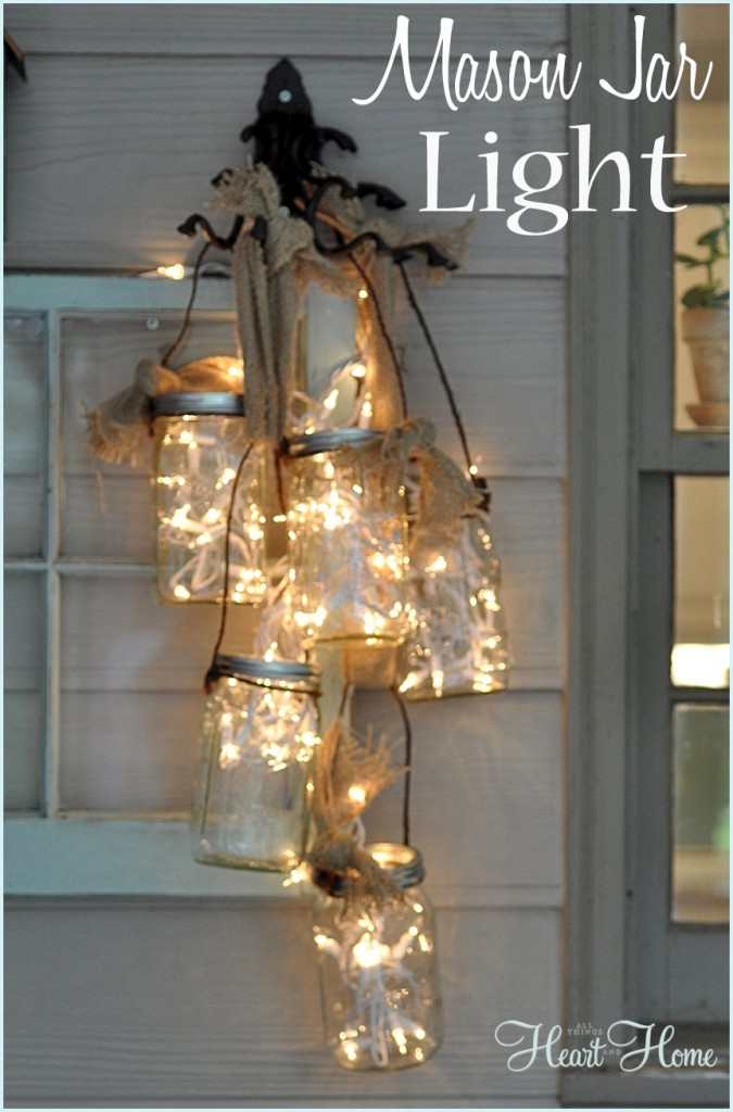 60 of the best diy christmas decorations kitchen fun for Hanging lights made from mason jars