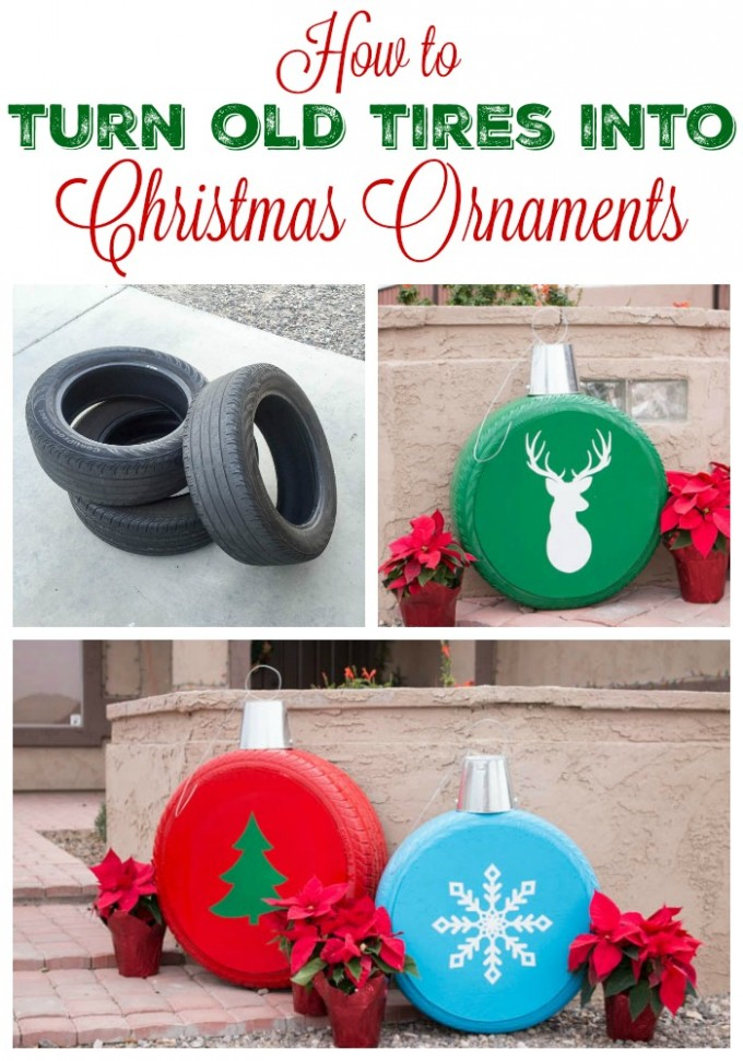 Diy Craft Ideas For Christmas Part - 50: Turn Old Tires Into Giant Ornaments...these Are The BEST DIY Christmas  Decorations