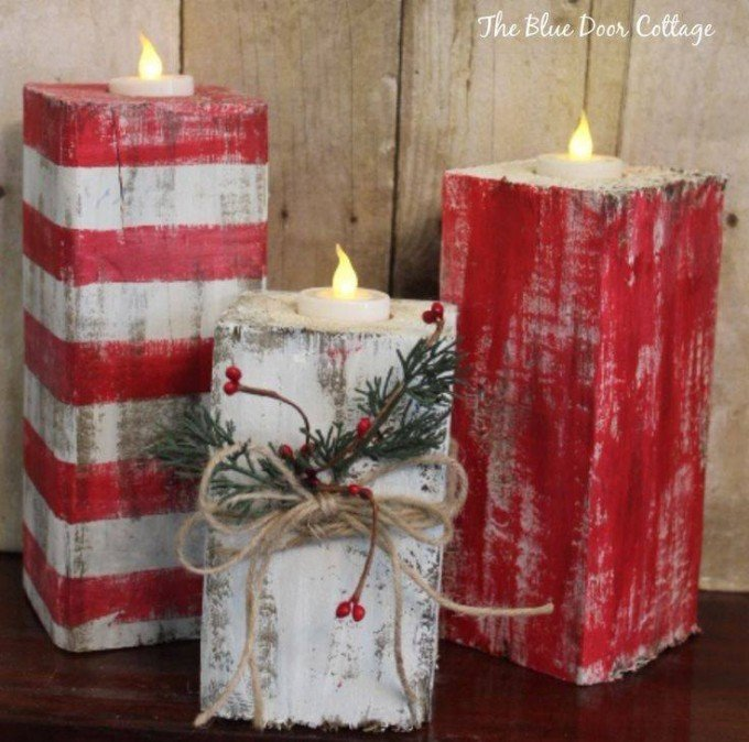 rustic wood christmas candlesthese are the best homemade holiday decorations - Christmas Log Candle Holder Decorations