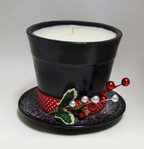 Fill a Small Pot with a Wax and place it on a Saucer to make this Adorable Frosty the Snowman Candle....these are the BEST DIY Christmas Decorations & Craft Ideas!
