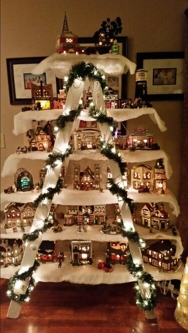 use an old ladder a few boards to make a christmas village - Old Christmas Decorations