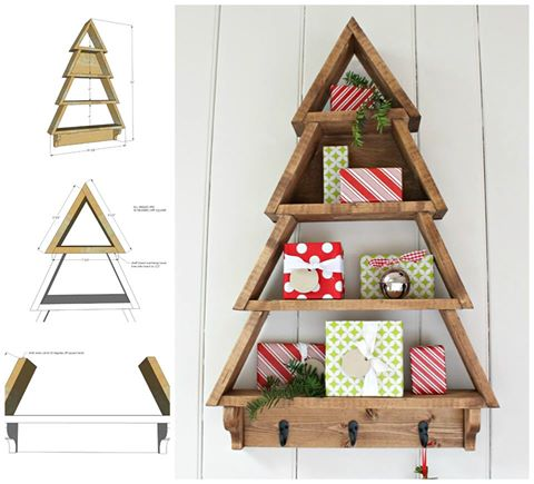 diy wooden tree wall shelfthese are the best homemade christmas decorating ideas - Wooden Christmas Decorations