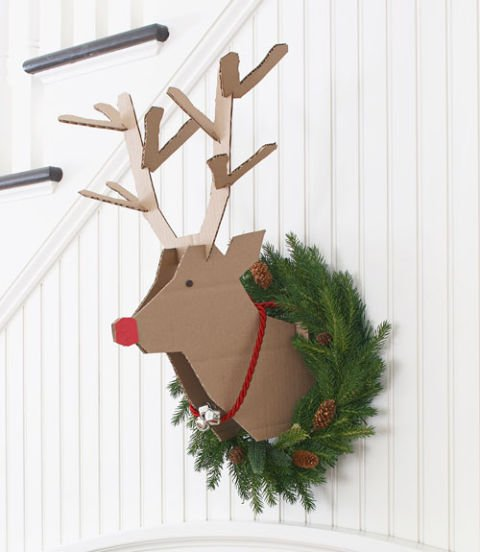 Recycled Cardboard Rudolph Reindeer...these are the BEST DIY Christmas Decorating Ideas!