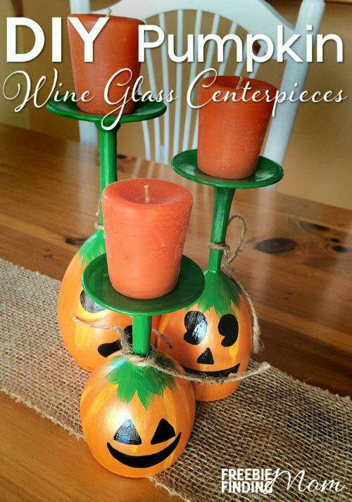 Over 50 of the best diy fall craft ideas kitchen fun with my 3 sons pumpkin wine glass candle holder centerpiecesese are the best fall craft ideas solutioingenieria Choice Image