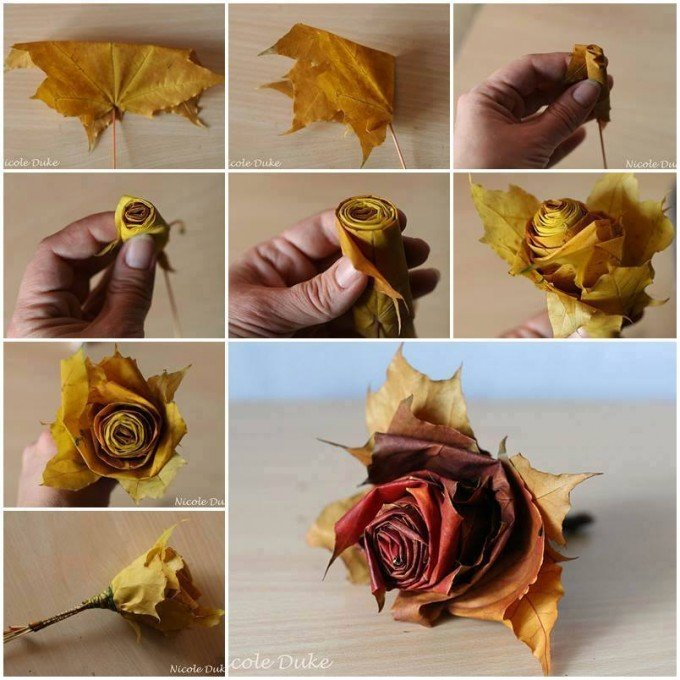 Make Home Decor Craft Ideas Part - 42: How To Make Flowers With Leaves...these Are The BEST Fall Craft Ideas